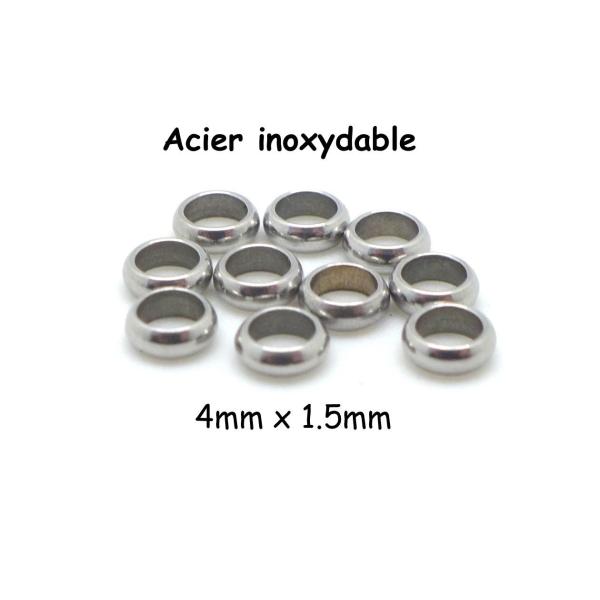 30 Perles intercalaires en Bois Couleur Argenté 10mm Perle rondelle 10 x 5mm