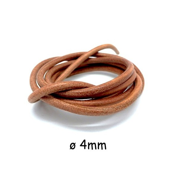d693afd2f417 1m Cordon Cuir 4mm De Couleur Marron Naturel - Cordon cuir - Creavea
