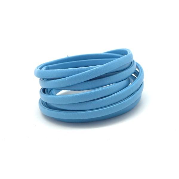1,2m Lanière Simili Cuir 4mm Bleu Ciel Légèrement Arrondi - Photo n°1