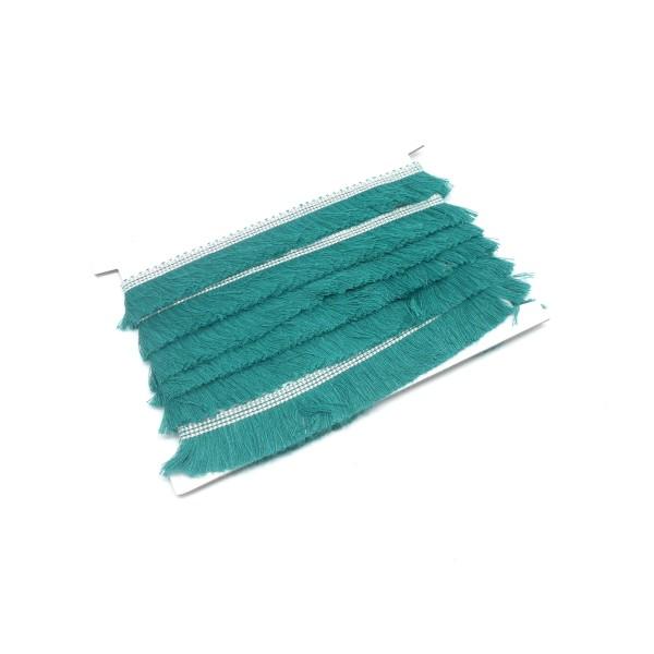 50cm De Galon Frange  De Couleur Vert Émeraude En Polyester Et Coton - Photo n°1