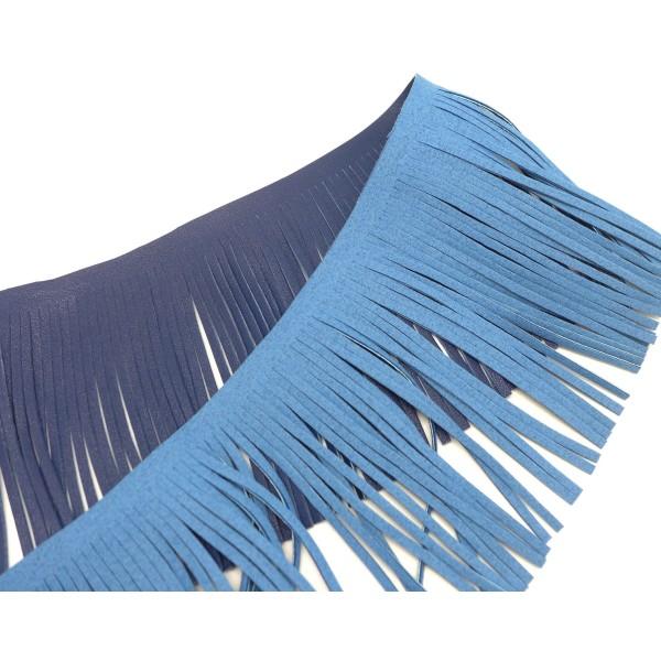 40cm De Galon Frange Bleu Foncé En Simili Cuir Pour Customisation, Pompon Hauteur Frange 10cm - Photo n°2