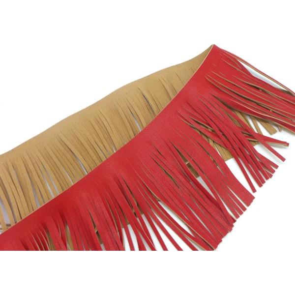 40cm De Galon Frange Rouge Verso Marron Beige En Simili Cuir Pour Customisation, Pompon Hauteur Fran - Photo n°2