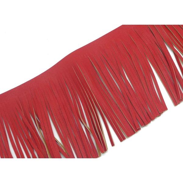 40cm De Galon Frange Rouge Verso Marron Beige En Simili Cuir Pour Customisation, Pompon Hauteur Fran - Photo n°1