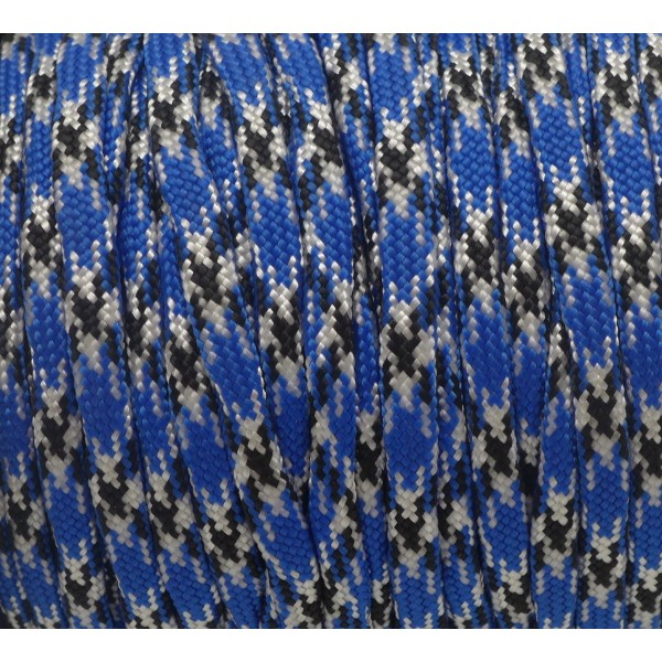2m Paracorde Bleu, Blanc Et Noir Cordon Nylon Tressé 4,5mm X 2mm - 7 Fils - Corde Nylon Gainé - Photo n°2