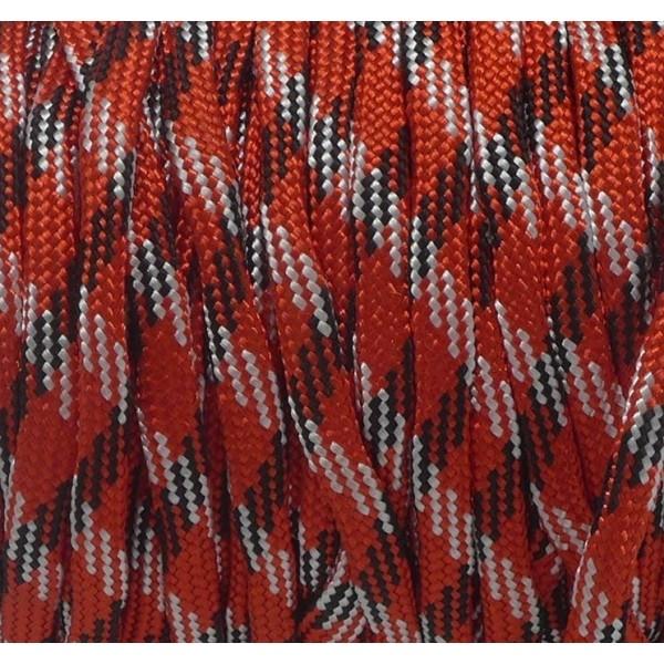 2m Paracorde Rouge, Noir Et Blanc Cordon Nylon Tressé 4,5mm X 2mm - 7 Fils - Corde Nylon Gainé - Photo n°2