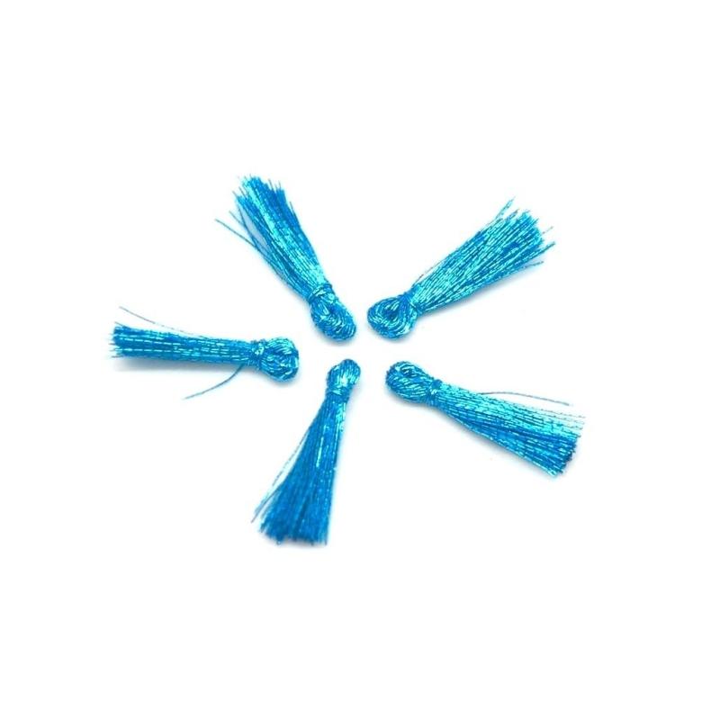 5 mini pompons 1 5cm de couleur bleu turquoise vif brillant en lurex pendentif pompon creavea. Black Bedroom Furniture Sets. Home Design Ideas