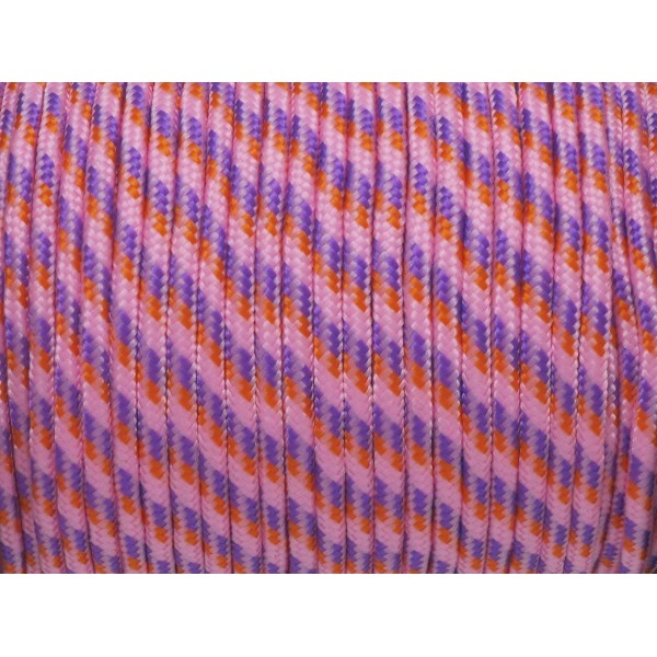 2m Paracorde 3mm Cordon Nylon Tressé Corde Nylon Gainé Rose Parme Orange - Photo n°1