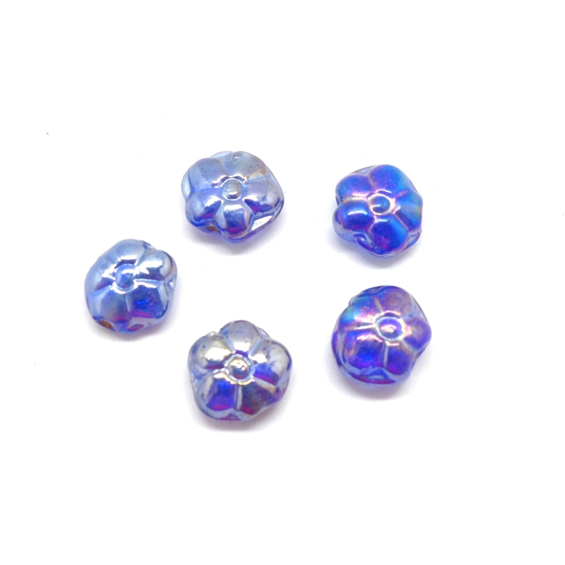 5 perles fleur en verre de couleur bleu azur iris bleu dor effet rainbow perles en verre. Black Bedroom Furniture Sets. Home Design Ideas