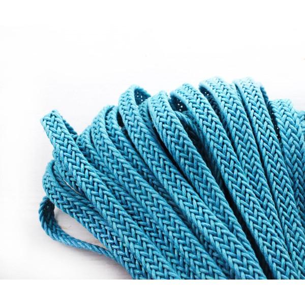 2yrd 1,8 m Bleu Turquoise en toile de Coton Ruban Tissu à Plat Cordon Macrame Boho Style de Bracelet - Photo n°1