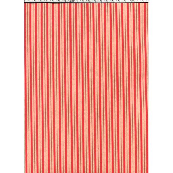 Rayure kraft et rouge, papier indien - Photo n°1