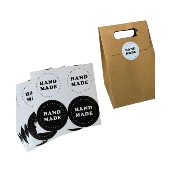 56 Etiquettes Handmade Noir & blanc, stickers autocollants 3,5 cm - Photo n°2