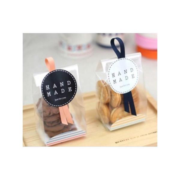56 Etiquettes Handmade Noir & blanc, stickers autocollants 3,5 cm - Photo n°3