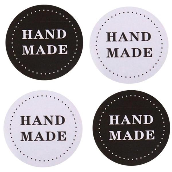 56 Etiquettes Handmade Noir & blanc, stickers autocollants 3,5 cm - Photo n°1