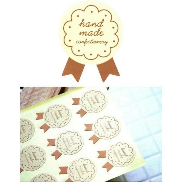 72 Etiquettes Handmade ivoire, stickers autocollants, pâtisseries ... - Photo n°1