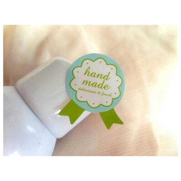 72 Etiquettes fait main, Handmade stickers médailles autocollants verts - Photo n°3