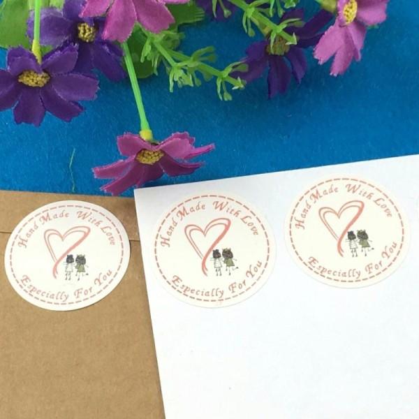 50 Etiquettes Fait main avec amour, petites filles, stickers autocollants, 3,5 cm - Photo n°2