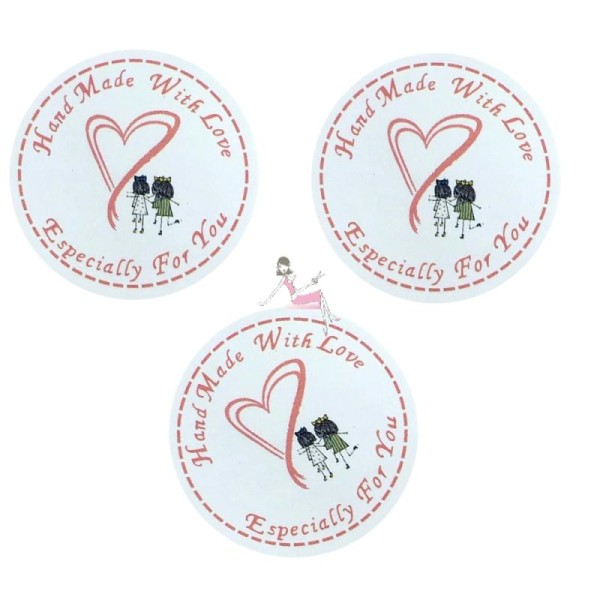 50 Etiquettes Fait main avec amour, petites filles, stickers autocollants, 3,5 cm - Photo n°1