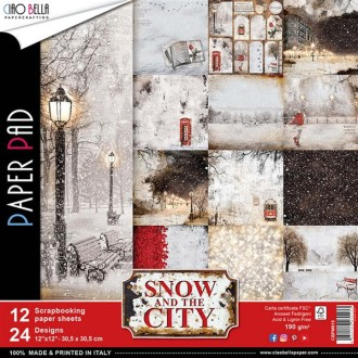 12 papiers scrapbooking 30,5 x 30,5 cm CIAO BELLA SNOW AND THE CITY
