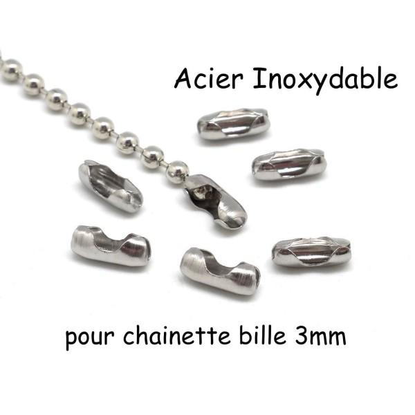 50 Embouts Connecteurs Fermoirs pour Chaîne Billes Boules 2mm ACIER INOXYDABLE