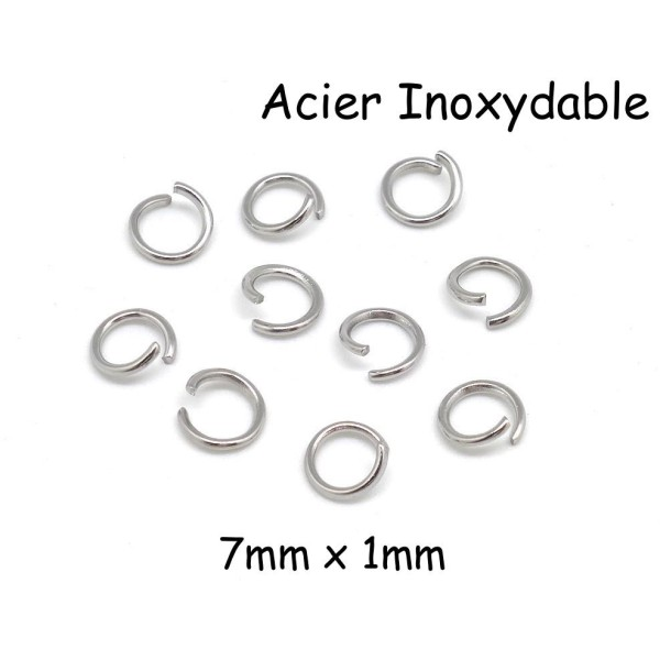 100 x Anneau en Acier Argent 7 mm