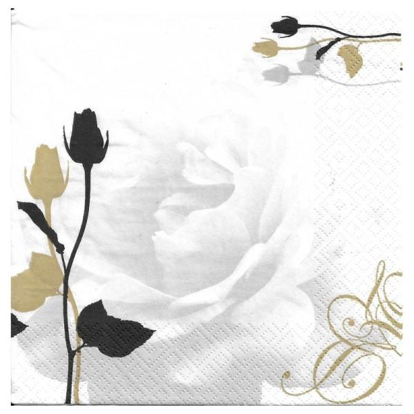 4 Serviettes en papier Rose Mariage Format Lunch - Photo n°2