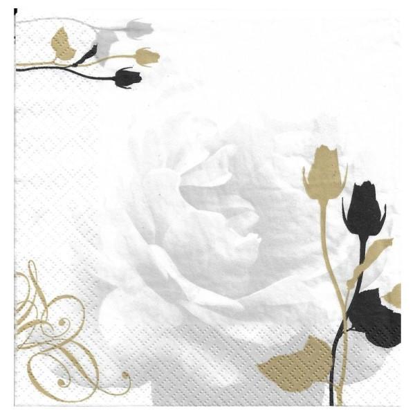4 Serviettes en papier Rose Mariage Format Lunch - Photo n°1