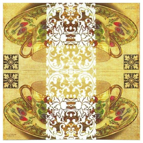 4 Serviettes en papier Tasse thé Limoges Format Lunch - Photo n°2