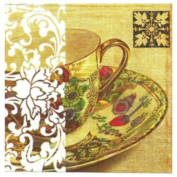 4 Serviettes en papier Tasse thé Limoges Format Lunch - Photo n°1