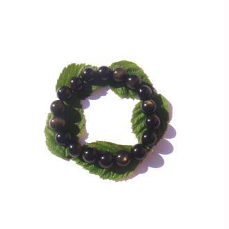 Bracelet Obsidienne Dorée sur fil élastique 17/20 CM x 1 CM de diamètre