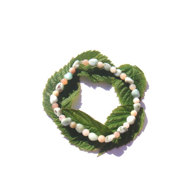 bracelet fin larimar opale rose sur fil lastique 17 19. Black Bedroom Furniture Sets. Home Design Ideas
