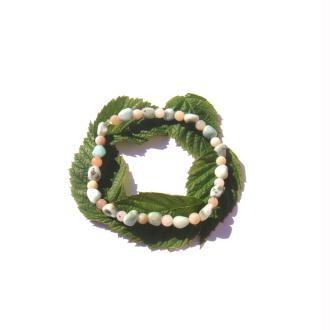Bracelet fin Larimar, Opale rose sur fil élastique 17/19 CM x 5 MM de diamètre
