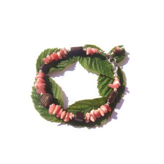 Bracelet Rhodochrosite/ Bois précieux de Patikan et d'Ebène 18 à 19 CM max