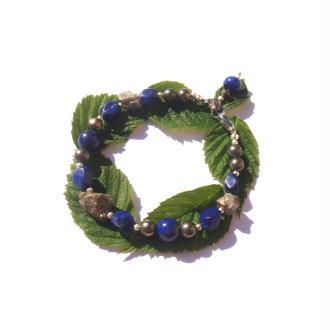 Bracelet Lapis Lazuli, Pyrite 18 à 19 CM de tour de poignet x 1 CM max