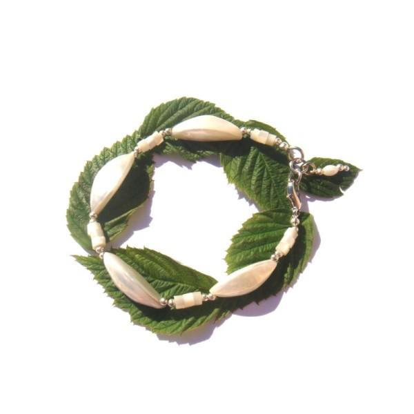 Bracelet Coquillage et Nacre 17,8 à 18,7 CM de tour de poignet x 1 CM - Photo n°2