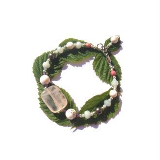 Bracelet Quartz Rose et Multi Pierres 18 à 19 CM de tour de poignet x 1,5 CM