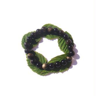 Bracelet Obsidienne Dorée sur fil élastique 18/21 CM x 8 MM de diamètre