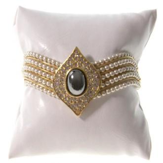 Lot de 20 coussins montre et bracelet simili cuir 8x8 cm Blanc