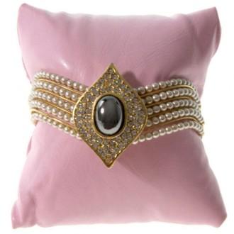 Lot de 20 coussins montre et bracelet simili cuir 8x8 cm Rose