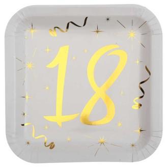 10 Assiettes anniversaire 18 ans blanc et or