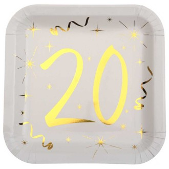 10 Assiettes anniversaire 20 ans blanc et or