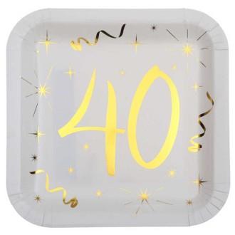 10 Assiettes anniversaire 40 ans blanc et or