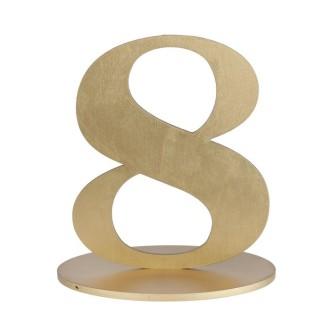 Marque table chiffre 8 sur pied en bois métallisé or