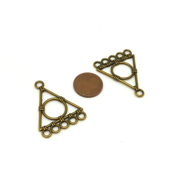 4 Connecteurs Support Triangle Géométrique Pour Boucle D'oreille Couleur Bronze 5 Trous - Photo n°2