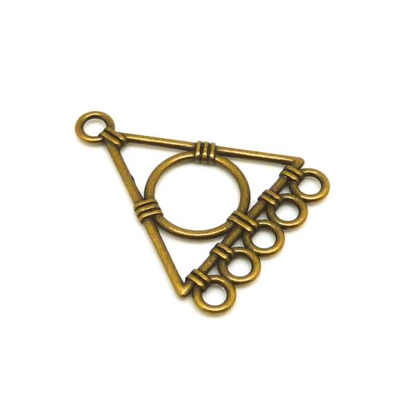 4 Connecteurs Support Triangle Géométrique Pour Boucle D'oreille Couleur Bronze 5 Trous - Photo n°1
