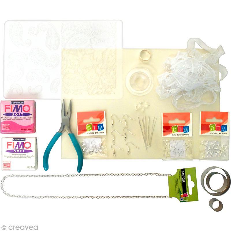 Kit créatif modelage pâte Fimo - Parure de bijoux - Poétique - Photo n°3