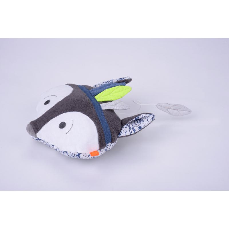 jouet musical renard imprim bleu gots jouets pour b b creavea. Black Bedroom Furniture Sets. Home Design Ideas