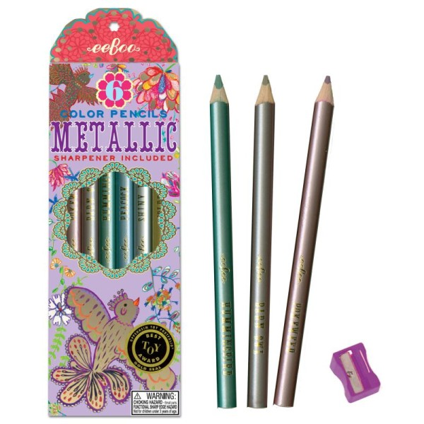 6 Crayons De Couleur Jumbos Métalliques Oiseaux Dorés Crayon De