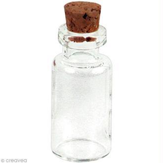 Mini flacon en verre - Bouteille 1 x 2,4 cm - 2 pcs