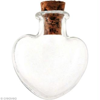 Mini flacon en verre - Coeur 2,2 x 2,5 cm - 2 pcs
