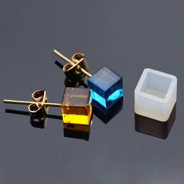 5 Moule Silicone Carré Pour Clous D'Oreille Pour Résine 7x7mm - Photo n°1